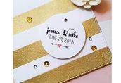 Etichette Personalizzate per Matrimonio, Bigliettini Personalizzabili, Bigliettini Ringraziamento, 24 pz