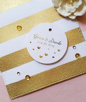 Etichette Dorate, Etichette Foglia d'Oro, Etichette Bomboniere per Matrimonio, Etichette Ringraziamento, Bigliettini Ringraziamento