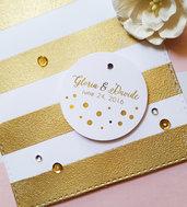 Etichette Foglia d'Oro, Etichette Dorate, Etichette Bomboniere per Matrimonio, Etichette Ringraziamento, Bigliettini Ringraziamento