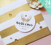 Tags Matrimonio Personalizzate, Etichette per Bomboniere, Bigliettini Grazie, Targhette Bomboniere