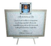 Targhetta con foto versione azzurra - regalo bomboniera madrina padrino Battesimo