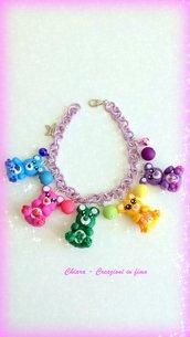 Novità! Idea regalo Natale! Bracciale in fimo handmade con orsetti multicolore lilla