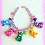 Novità! Bracciale in fimo handmade con orsetti multicolore lilla idea regalo epifania calza befana