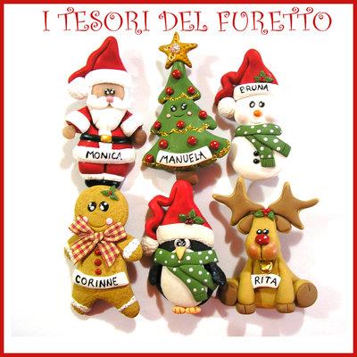 Spille natalizie personalizzate  riservate per Marta! Gingerbread Babbo Natale Pinguino