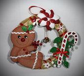 Ghirlanda fuoriporta di Natale con Gingerbread