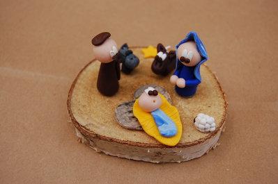 Presepe su disco in legno
