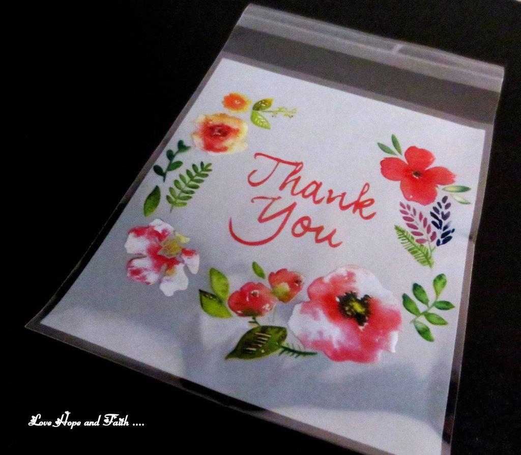 """LOTTO 25 bustine apri/chiudi """"Thank you"""" (10x11cm)"""