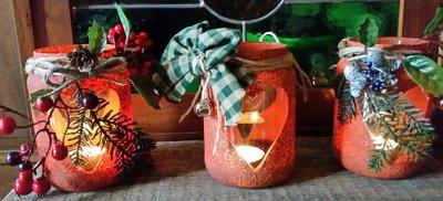 Portacandela natalizia e non decorata a mano con cuore
