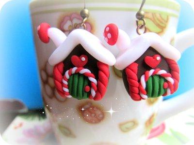 Orecchini Casetta natalizia in Fimo