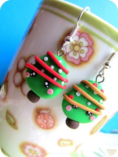 Orecchini Albero di Natale Kawaii in Fimo Fatti a Mano