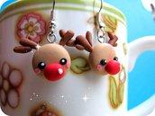 Orecchini Rudolph in Fimo Fatti a Mano