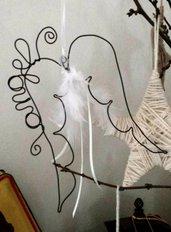 Ali d'angelo fil di ferro, cameretta, decoro shabby chic,