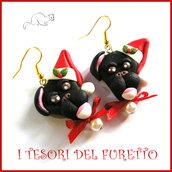 """Orecchini Natale """" Pittbull cappellino Babbo Natale """" cagnolino cane Fimo cernit bijoux Natalizi Kawaii clip idea regalo ragazza"""