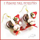 """Orecchini Natale """" Pittbull marrone cappellino Babbo Natale """" cagnolino cane Fimo cernit bijoux Natalizi Kawaii clip idea regalo ragazza"""