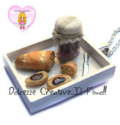 Vassoio Bianco con pane e marmellata - miniature kawaii hanmade colazione dollhouse