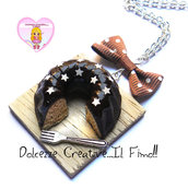 Collana Torta - Dolci, ciambellone Pan di stelle al cioccolata - kawaii handmade