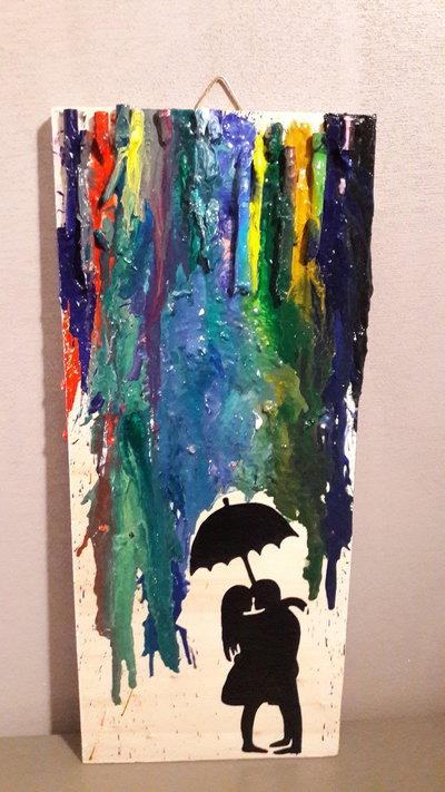 """Quadro in legno rettangolare multicolor """"L'amore non si bagna...si colora!"""""""