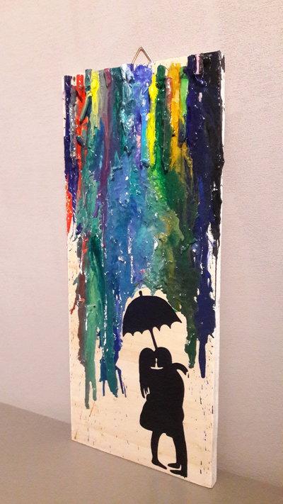 Quadro in legno rettangolare multicolor
