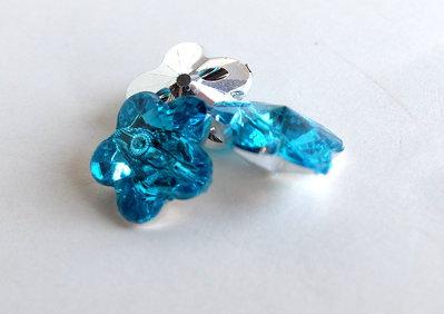 6 Bottoni strass blu zircone BOT48
