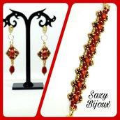 GRANADA: Bracciale e Orecchini in tessitura di perline con cristalli