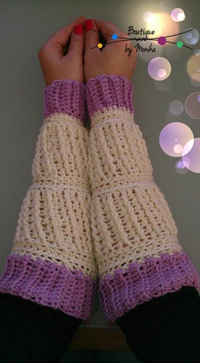 nuovo di zecca noi sporchi nuovo stile Manicotti bicolore fatti ad uncinetto - Donna - Abbigliamento - di ...