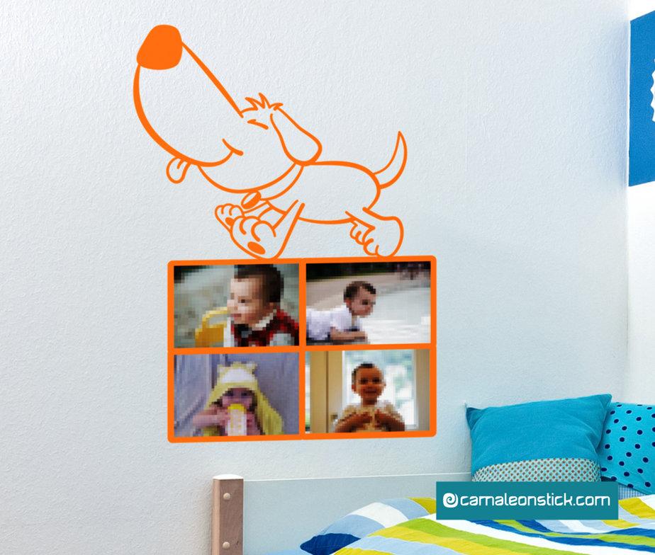 Portafoto cagnolino - adesivo murale per bambini - cornice portafotografie - sticker da parete cameretta