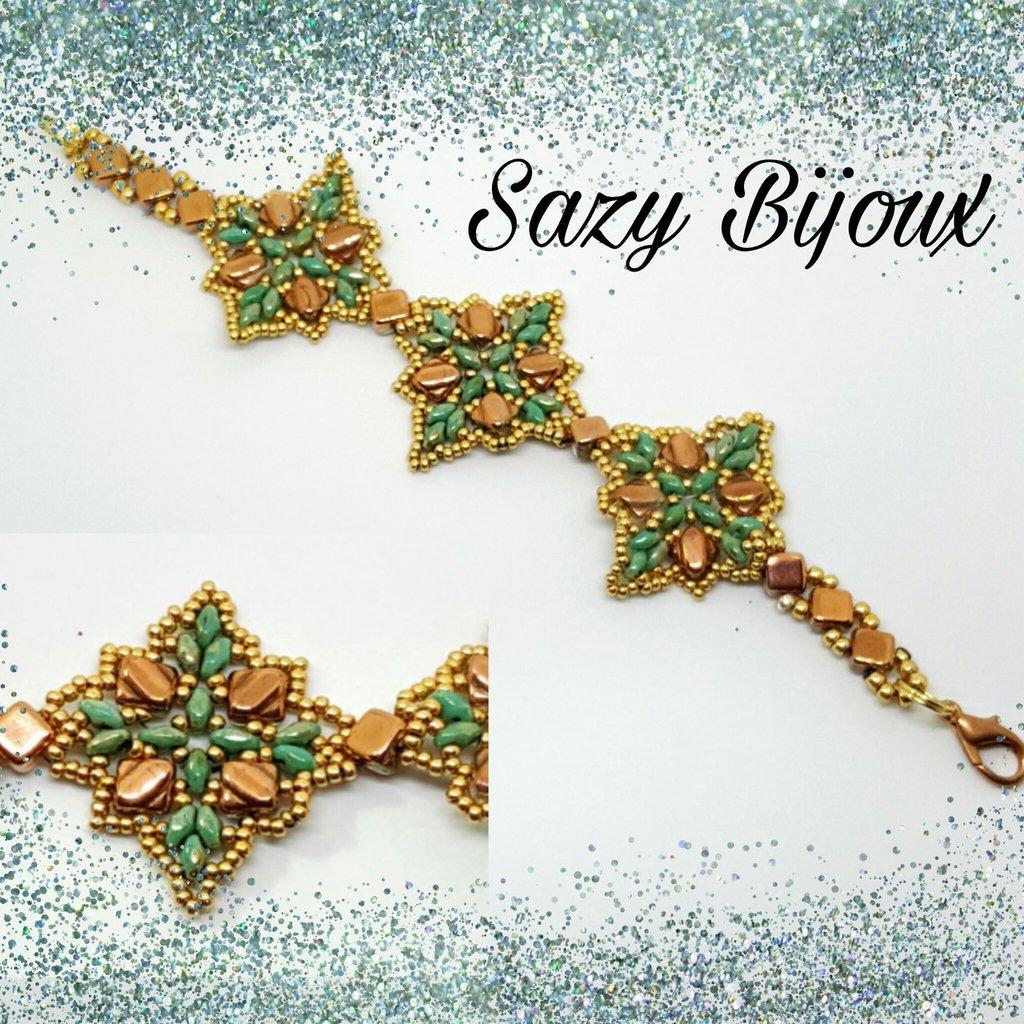 FORTUNE: Bracciale in tessitura di perline, verde, oro e rame