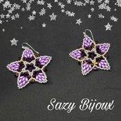 STAR & STAR LILLAC: Orecchini a Stella in tessitura di perline con Cristalli