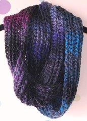 Idea Regalo - Sciarpa Infinity Scaldacollo - Sfumature Viola-Blu