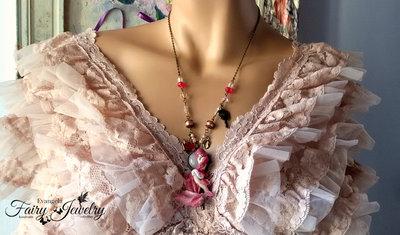 Collana sirena bambolina dollina fimo pasta polimerica bronzo quarzo rosa fatto a mano handmade