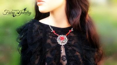 Collana rosa fiore fimo pasta polimerica rosso nero filigrana fatta a mano