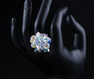 Anello regolabile su base argentata con cristalli swarovski elements originali color Crystal(aurora boreale) idea regalo pr lei