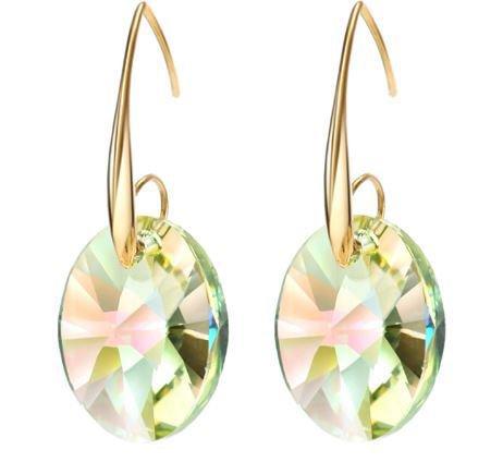 Orecchini con monachella color oro e cristalli swarovski elements originali color citrino idea regalo per lei