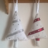 Albero di Natale, addobbi di stoffa, decorazioni da appendere