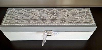 Scatola contenitore porta gioielli the gioie in legno shabby chic