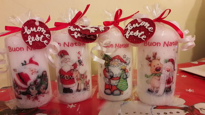 Decorare Candele Natale : Candele natalizie decorate a mano feste natale di witches