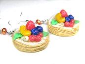 Orecchini millefoglie decorate con frutti di bosco Natale fimo regalo Kawaii