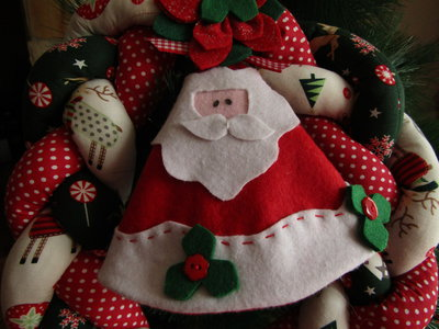 """Fuoriporta in stoffa intrecciato """"Babbo Natale"""""""