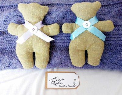Bomboniera orsetto di stoffa realizzato a mano