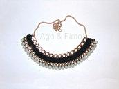 Collana egiziana uncinetto nero e perle