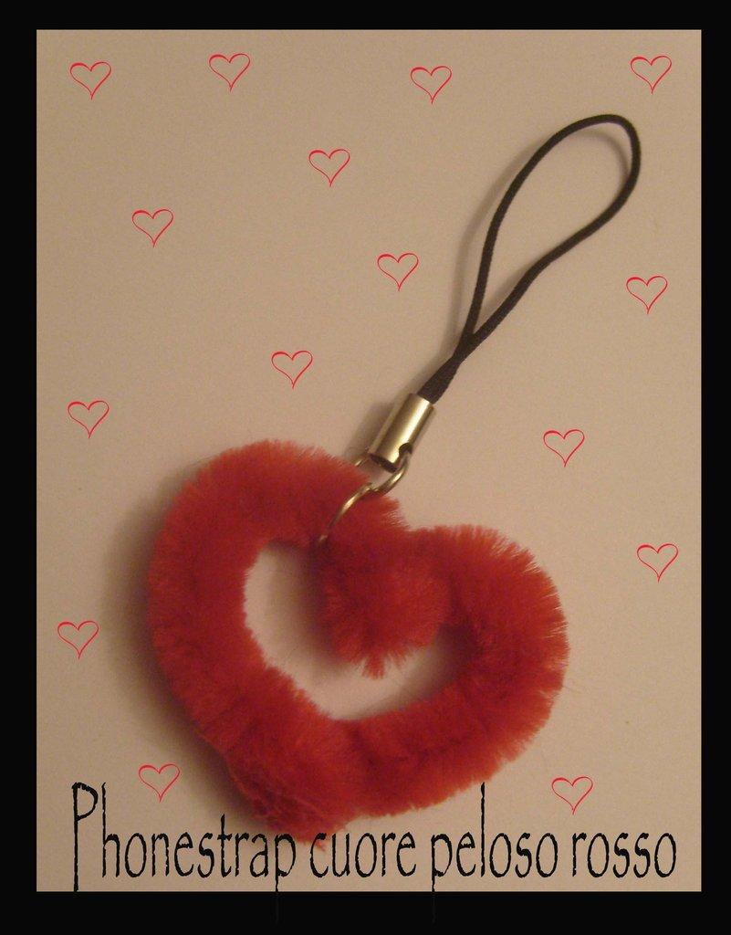 Phonestrap cuore rosso peloso