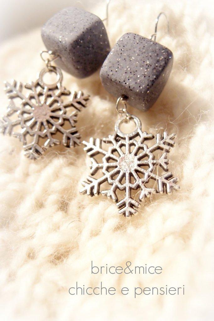 Orecchini Fiocco di neve , orecchini pendenti snowflake, orecchini pendenti fiocco di neve