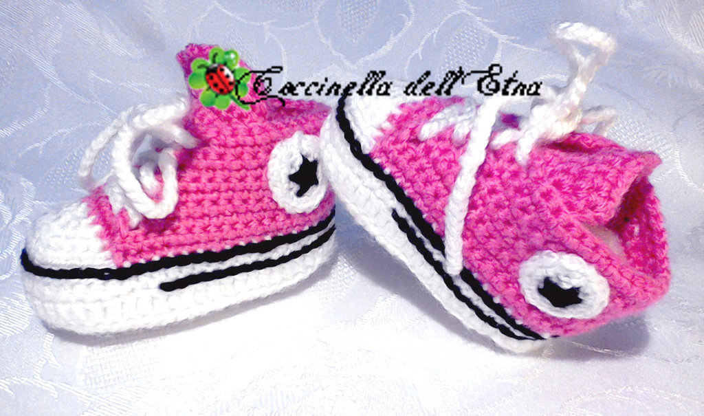Scarpette Neonato A Uncinetto 0 3 Mesi Converse All Star Rosa Regal