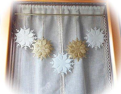 5 fiocchi di neve decorativi