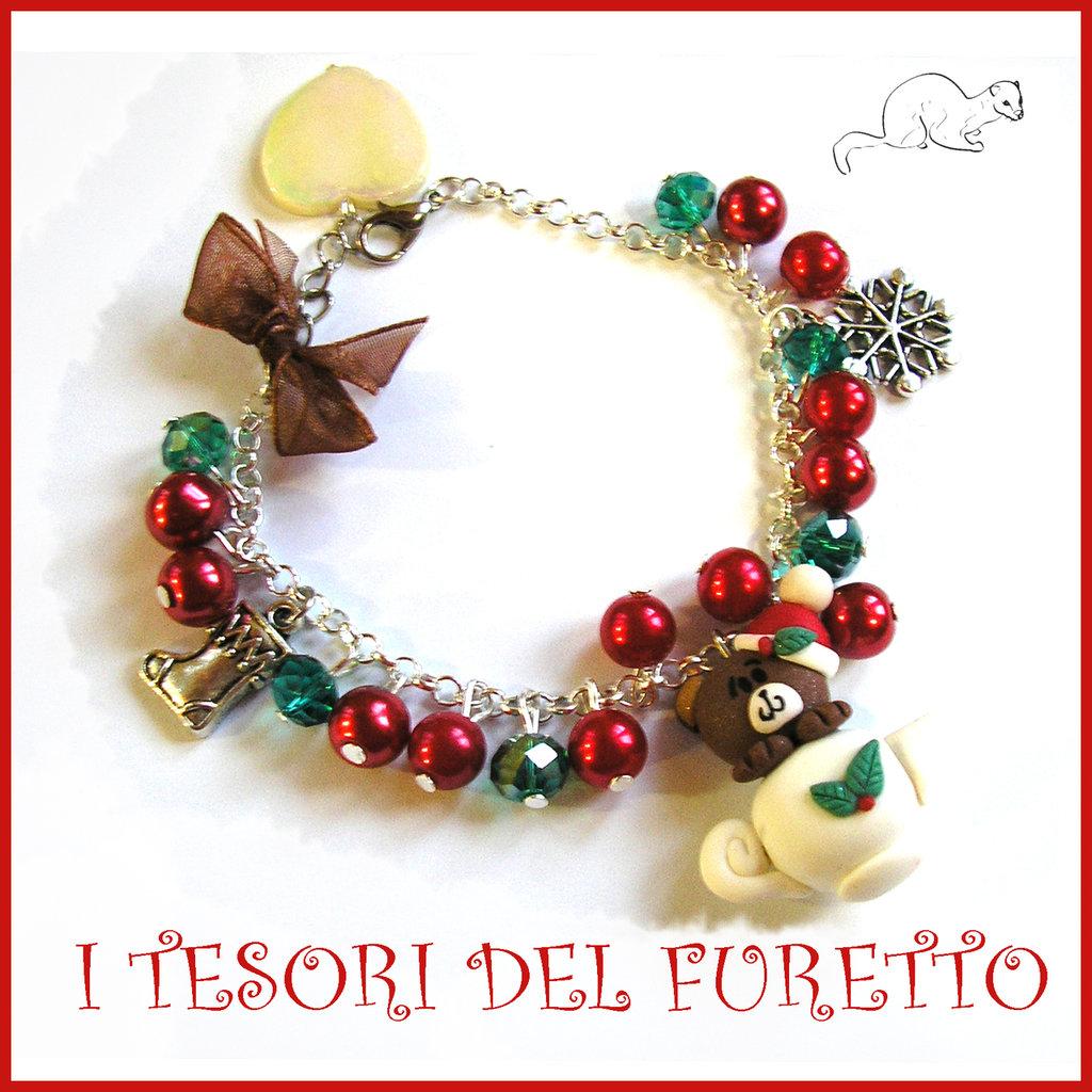 """Bracciale """" Fufuorsetto verde rosso teiera """" orso orsetto the di ad Natale fimo cernit bijoux Natalizi Kawaii clip idea regalo ragazza"""