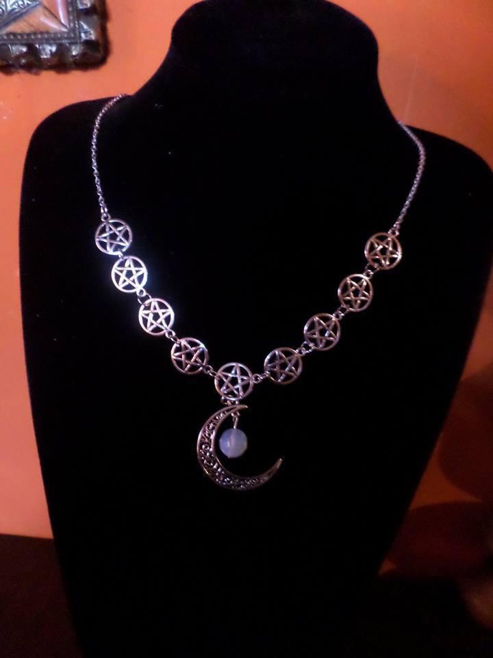 collana argento tibetano pentacolo pietra dura e luna