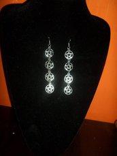 orecchini argento tibetano con stelle pentacolo a cerchio