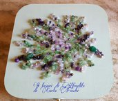 Portagioie in legno con mosaico floreale di pietre dure e cristalli,viola,verde e rosa,