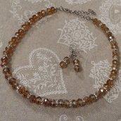 Girocollo cristalli color ambra con orecchini abbinati