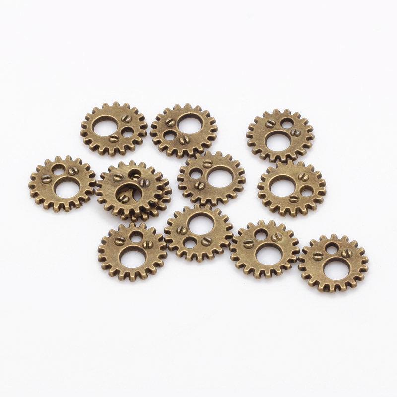 Rotelle ingranaggi steampunk 12mm tono bronzo 20pz
